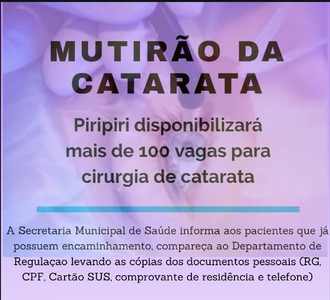 Mutirão da Catarata: Piripiri disponibilizará mais de 100 vagas para cirurgia de catarata