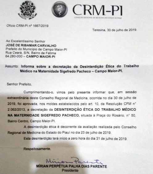 Maternidade Sigefredo Pacheco em Campo Maior volta a funcionar após nova vistoria do CRM-PI